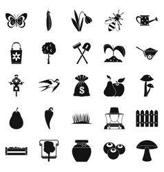 agronomy icons set simple style vector image