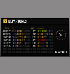 Airport board realistic composition vector