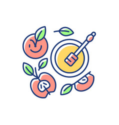 Apples and honey pot rgb color icon vector