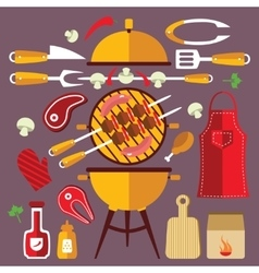 Bbq Flat Icons Concept Set vector image
