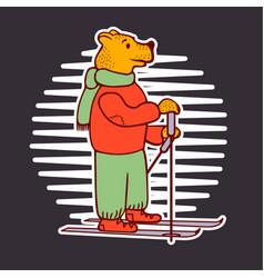 bear skiing doodle vector image