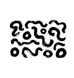 black paint brush strokes set vector image