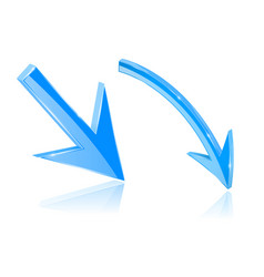 Blue down 3d arrows shiny bright signs vector