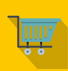 Blue shopping trolley icon flat style vector