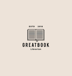 book logo hipster retro vintage icon vector image