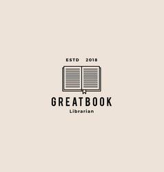 book logo hipster retro vintage icon vector image