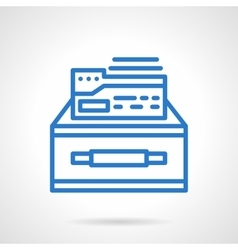 Box of documents blue simple line icon vector image