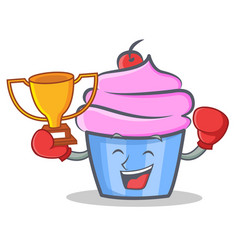 boxing cupcake character cartoon style winner vector image
