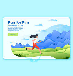 bright banner template with running girl vector image