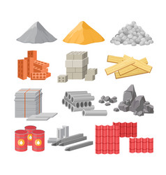 Building materials flat set vector