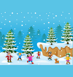cartoon kids and dog playing in the snow vector image