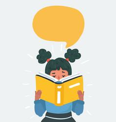 Cartoon little girl reading book vector