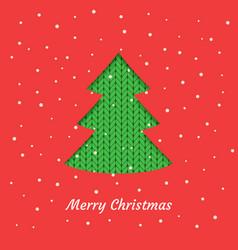 christmas card with a green christmas tree vector image