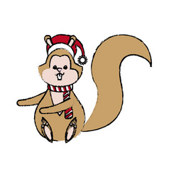 Christmas squirrel animal character with hat scarf vector