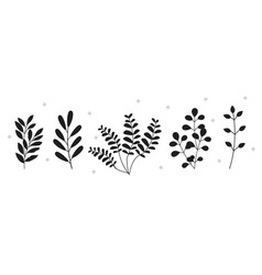 Collection of dark silhouettes of plants vector