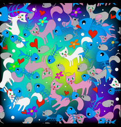 colorful doodle cartoon cats seamless pattern vector image