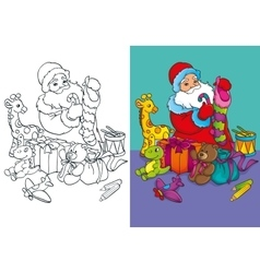 Coloring book of santa claus packs gifts vector