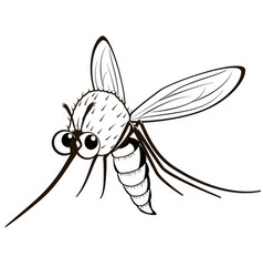 comical monochrome mosquito vector image