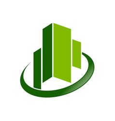 commercial emerald green city symbol design vector image