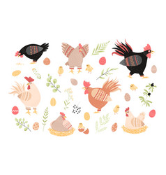cute roosters hens and chickens floral elements vector image