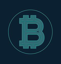digital bitcoin currency symbol design vector image