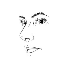 drawing of pensive woman thinking about something vector image