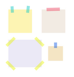empty note papers stuck with sticky tape strips vector image