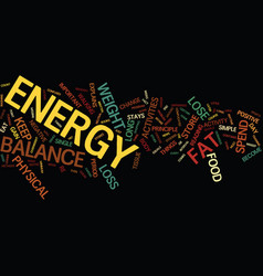 Energy balance text background word cloud concept vector