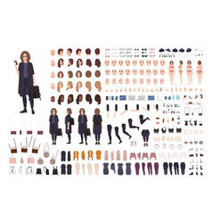 Fashionable teenage girl avatar constructor kit vector