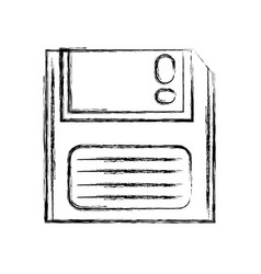 Figure retro diskette technology with data vector
