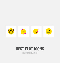 flat icon expression set of displeased party time vector image
