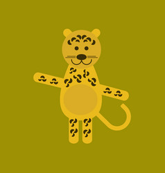 Flat icon on background cartoon leopard vector
