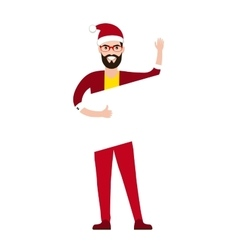 flat style young Santa claus holding blank sign vector image