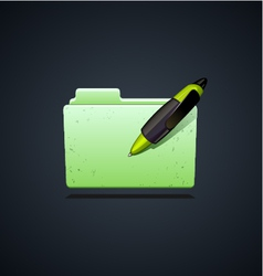 folder icon with green pen vector image