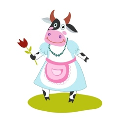 funny cartoon cow vector image