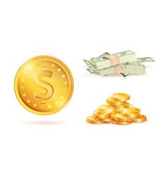 golden coin with dollar sign heap gold money vector image