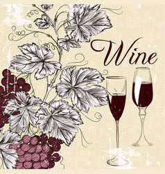 Grunge poster with wine and grapes vector