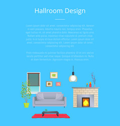 Hallroom design card interior of modern room vector