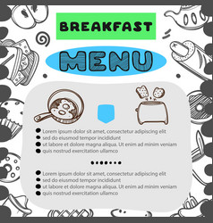 hand drawn menu for cafe with breakfast menu vector image