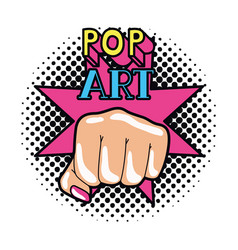 hand in sign power pop art vector image
