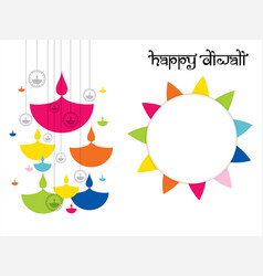 Happy diwali traditional indian festival greeting vector