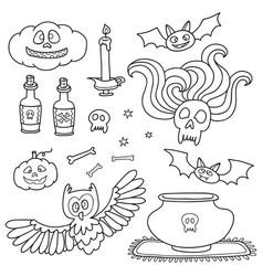 Happy halloween with pumpkins ghosts spiders vector