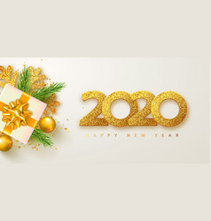 happy new year 2020 banner with golden luxury vector image