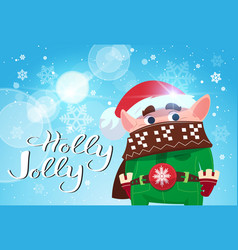 holly jolly poster merry christmas banner green vector image