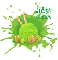 Ice cream pistachio ball dessert choose your taste vector