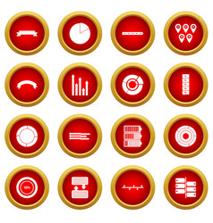 Infographic design parts icon red circle set vector