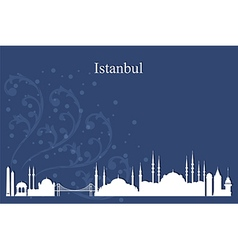 Istanbul city skyline on blue backgroun vector