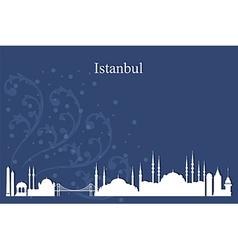 Istanbul city skyline on blue background vector