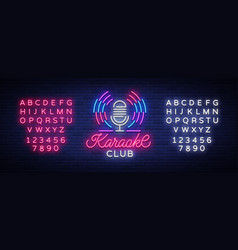 Karaoke club logo in neon style neon sign bright vector