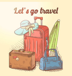Lets go travel hand drawn design summer vacation vector